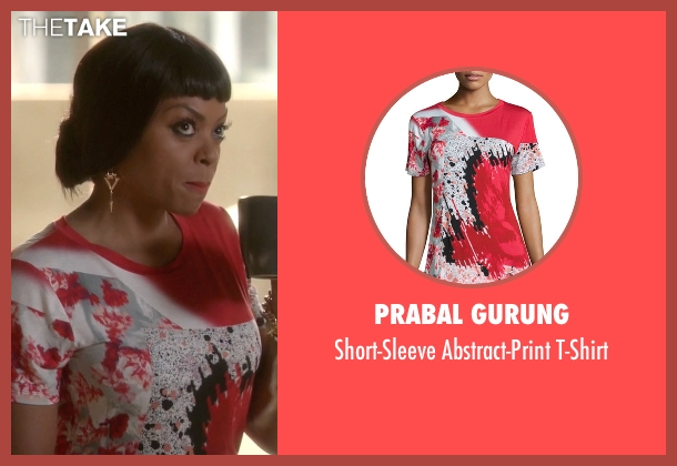 Prabal Gurung red t-shirt from Empire seen with Cookie Lyon (Taraji P. Henson)
