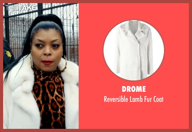 Drome white coat from Empire seen with Cookie Lyon (Taraji P. Henson)