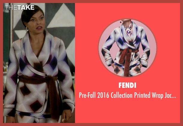 Fendi white jacket from Empire seen with Cookie Lyon (Taraji P. Henson)