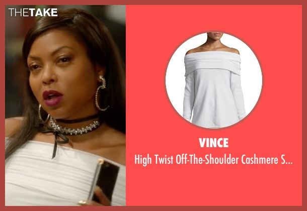 Vince white sweater from Empire seen with Cookie Lyon (Taraji P. Henson)