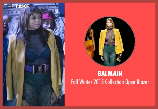 Balmain yellow blazer from Empire seen with Cookie Lyon (Taraji P. Henson)