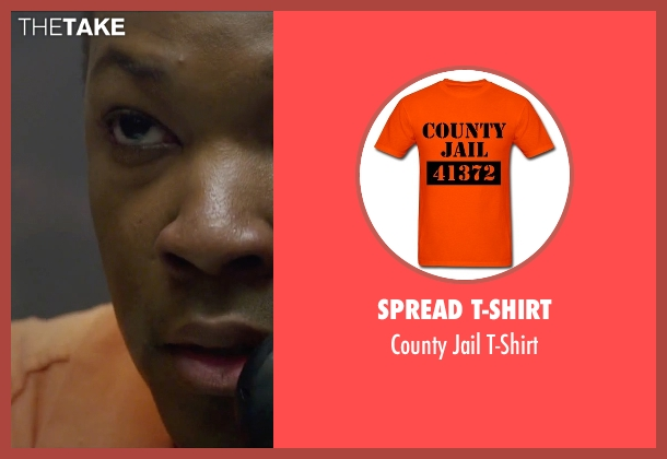 Spread T-Shirt orange t-shirt from Straight Outta Compton seen with Corey Hawkins (Dr. Dre)