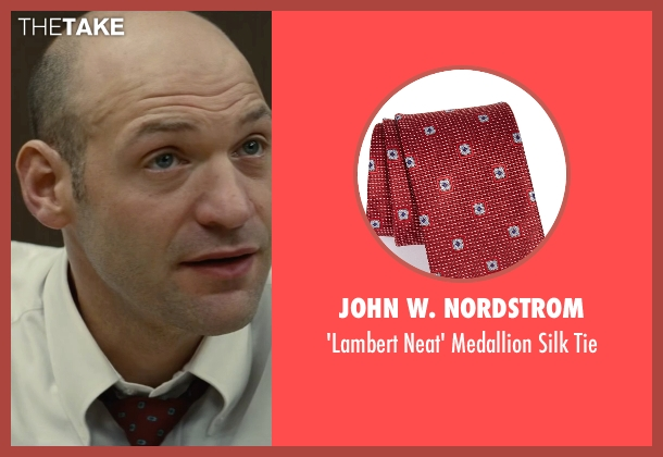 John W. Nordstrom red tie from Black Mass seen with Corey Stoll (Fred Wyshak)