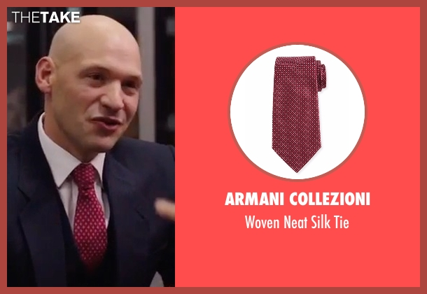 Armani Collezioni  red tie from Gold seen with Corey Stoll (Brian Woolf)