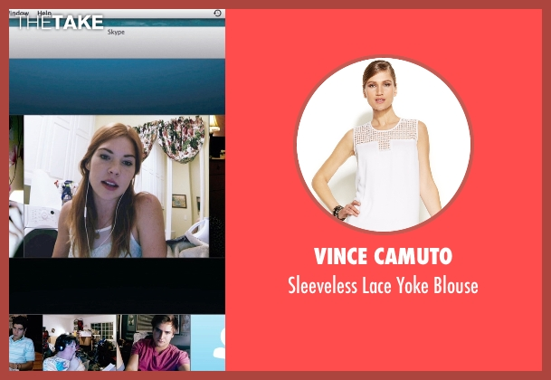 Vince Camuto white blouse from Unfriended seen with Courtney Halverson (Val)
