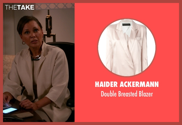 Haider Ackermann beige blazer from The Good Wife seen with Courtney Paige (Vanessa Williams)