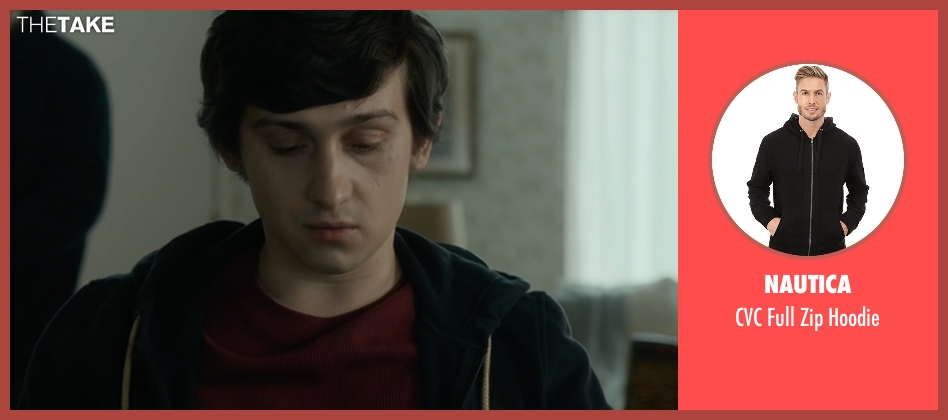 Nautica black hoodie from The Fundamentals of Caring seen with Craig Roberts (Trevor)