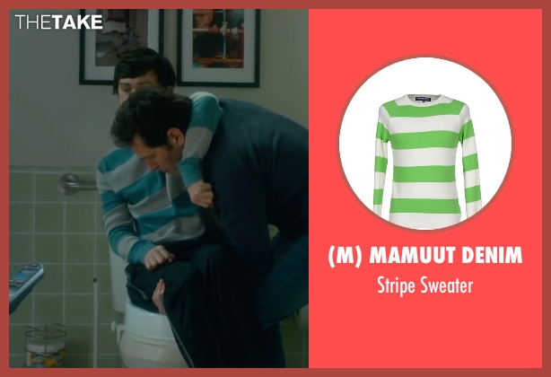 (M) Mamuut Denim green sweater from The Fundamentals of Caring seen with Craig Roberts (Trevor)