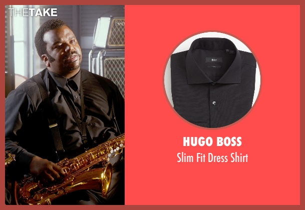Hugo Boss black shirt from Get On Up seen with Craig Robinson (Maceo Parker)