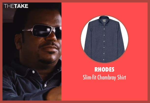 Rhodes blue shirt from Hot Tub Time Machine 2 seen with Craig Robinson (Nick)