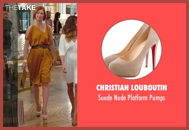 Christian Louboutin beige pumps from Sex and the City 2 seen with Cynthia Nixon (Miranda Hobbes)