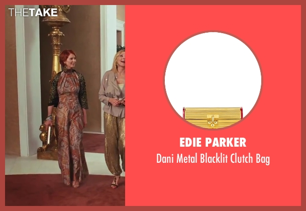 Edie Parker gold bag from Sex and the City 2 seen with Cynthia Nixon (Miranda Hobbes)