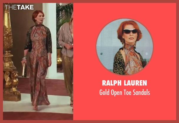 Ralph Lauren gold sandals from Sex and the City 2 seen with Cynthia Nixon (Miranda Hobbes)
