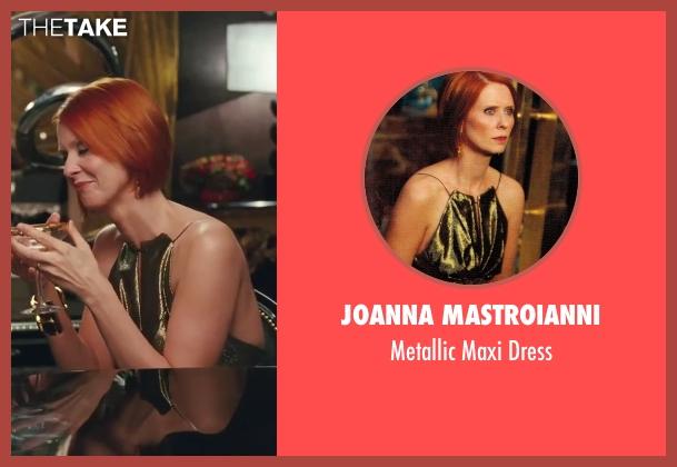 Joanna Mastroianni green dress from Sex and the City 2 seen with Cynthia Nixon (Miranda Hobbes)