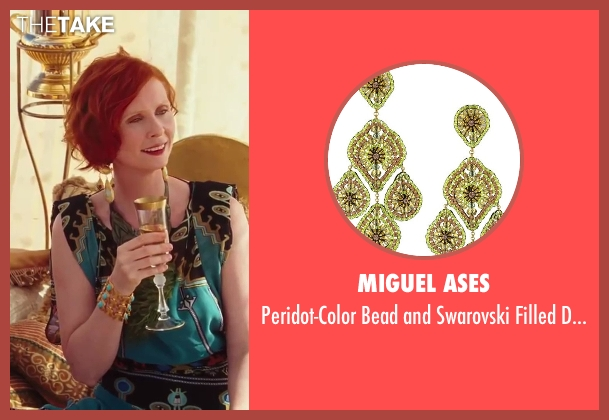 Miguel Ases green earrings from Sex and the City 2 seen with Cynthia Nixon (Miranda Hobbes)