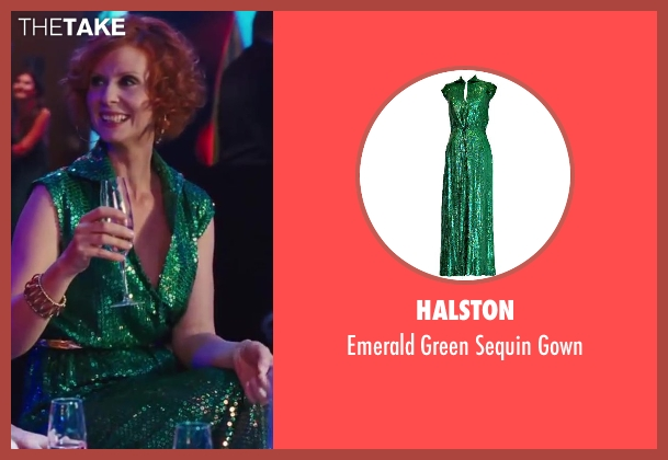 Halston green gown from Sex and the City 2 seen with Cynthia Nixon (Miranda Hobbes)