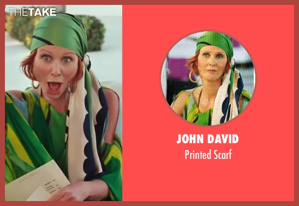 John David green scarf from Sex and the City 2 seen with Cynthia Nixon (Miranda Hobbes)