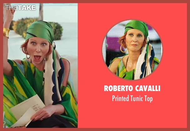 Roberto Cavalli green top from Sex and the City 2 seen with Cynthia Nixon (Miranda Hobbes)
