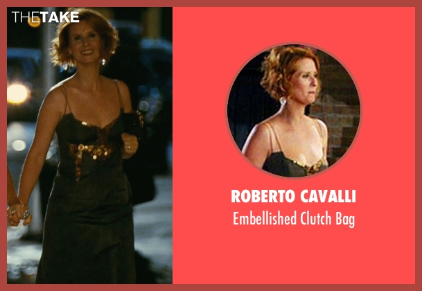 Roberto Cavalli black bag from Sex and the City seen with Cynthia Nixon (Miranda Hobbes)