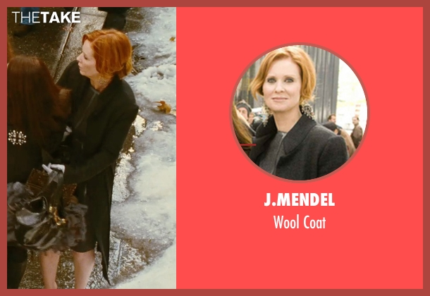 J.Mendel black coat from Sex and the City seen with Cynthia Nixon (Miranda Hobbes)