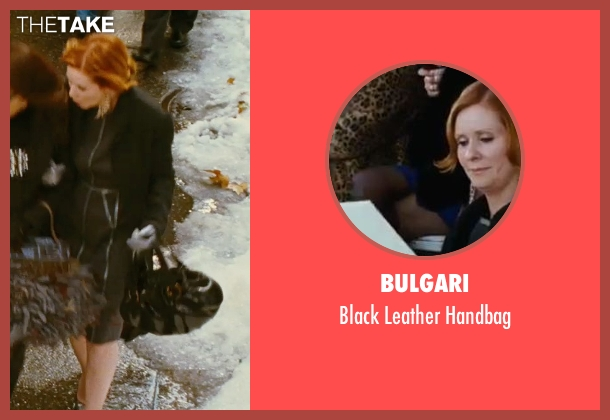 Bulgari black handbag from Sex and the City seen with Cynthia Nixon (Miranda Hobbes)