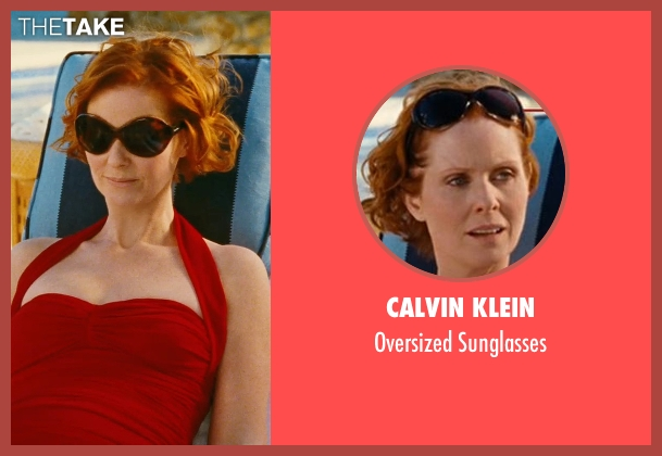Calvin Klein black sunglasses from Sex and the City seen with Cynthia Nixon (Miranda Hobbes)