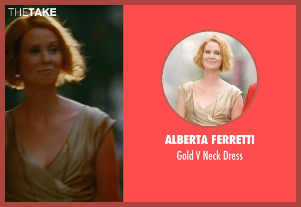Alberta Ferretti gold dress from Sex and the City seen with Cynthia Nixon (Miranda Hobbes)