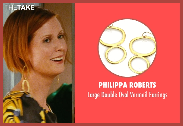 Philippa Roberts gold earrings from Sex and the City seen with Cynthia Nixon (Miranda Hobbes)