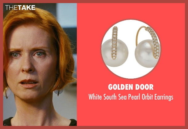 Golden Door gold earrings from Sex and the City seen with Cynthia Nixon (Miranda Hobbes)