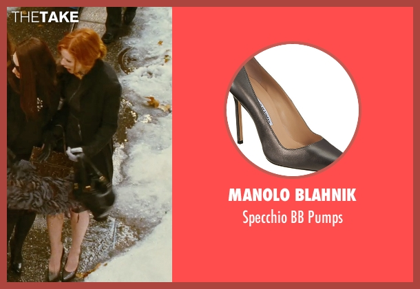 Manolo Blahnik gray pumps from Sex and the City seen with Cynthia Nixon (Miranda Hobbes)