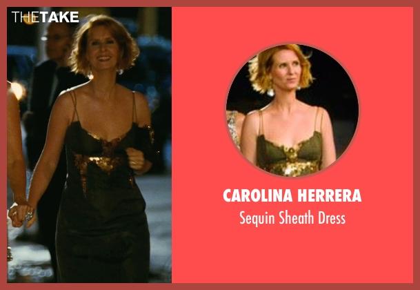 Carolina Herrera green dress from Sex and the City seen with Cynthia Nixon (Miranda Hobbes)