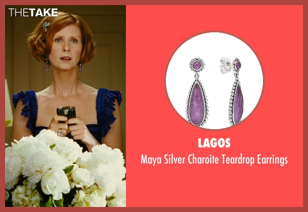 Lagos purple earrings from Sex and the City seen with Cynthia Nixon (Miranda Hobbes)