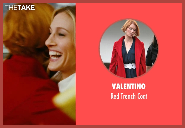 Valentino red coat from Sex and the City seen with Cynthia Nixon (Miranda Hobbes)