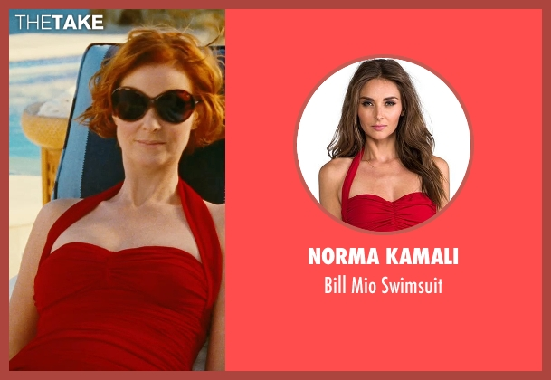 Norma Kamali red swimsuit from Sex and the City seen with Cynthia Nixon (Miranda Hobbes)