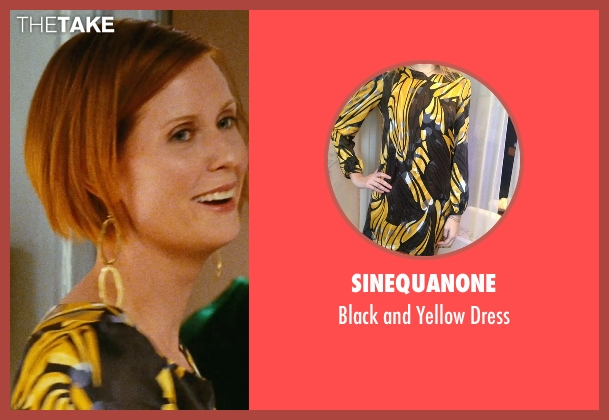 Sinequanone yellow dress from Sex and the City seen with Cynthia Nixon (Miranda Hobbes)