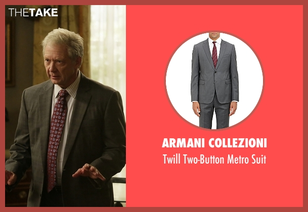 Armani Collezioni gray suit from Scandal seen with Cyrus Beene (Jeff Perry)