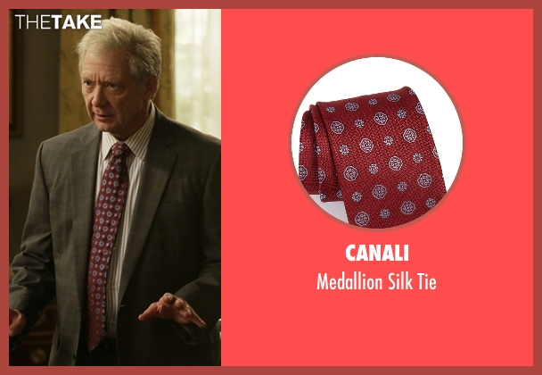 Canali red tie from Scandal seen with Cyrus Beene (Jeff Perry)