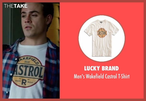 Lucky Brand white t-shirt from Power Rangers seen with Dacre Montgomery (Jason Lee Scott / Red Ranger)