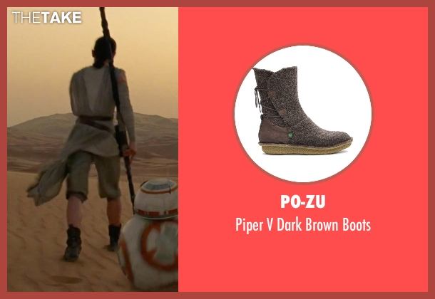 Po-Zu black boots from Star Wars: The Force Awakens seen with Daisy Ridley (Rey)