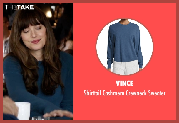 Vince blue sweater from Fifty Shades Darker seen with Dakota Johnson (Anastasia Steele)