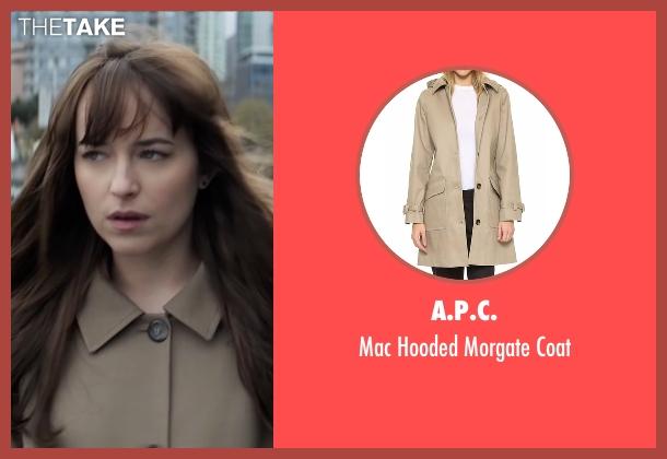 A.P.C. brown coat from Fifty Shades Darker seen with Dakota Johnson (Anastasia Steele)