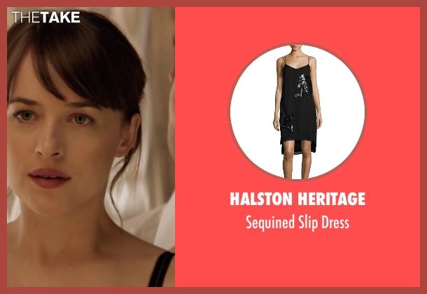 Halston Heritage black dress from Fifty Shades Darker seen with Dakota Johnson (Anastasia Steele)