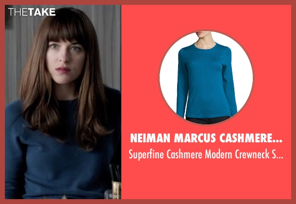 Neiman Marcus Cashmere Collection blue sweater from Fifty Shades Darker seen with Dakota Johnson (Anastasia Steele)