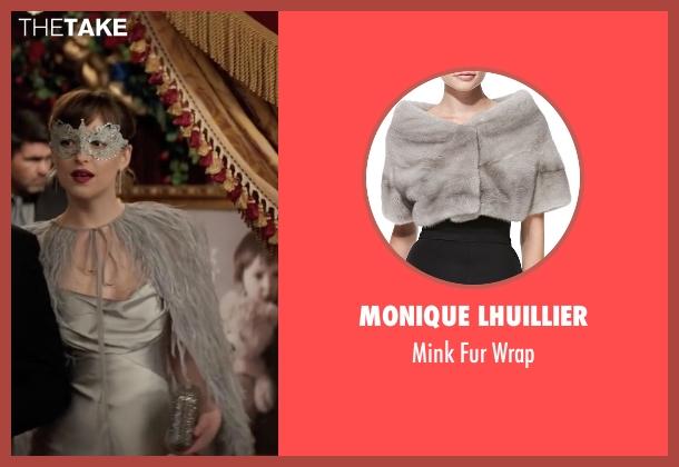 Monique Lhuillier gray wrap from Fifty Shades Darker seen with Dakota Johnson (Anastasia Steele)