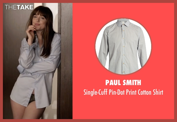 Kenneth Cole Reaction gray shirt from Fifty Shades Darker seen with Dakota Johnson (Anastasia Steele)