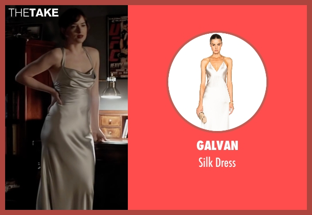 Galvan silver dress from Fifty Shades Darker seen with Dakota Johnson (Anastasia Steele)