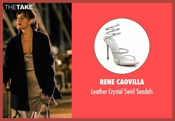 Rene Caovilla silver sandals from Fifty Shades Darker seen with Dakota Johnson (Anastasia Steele)
