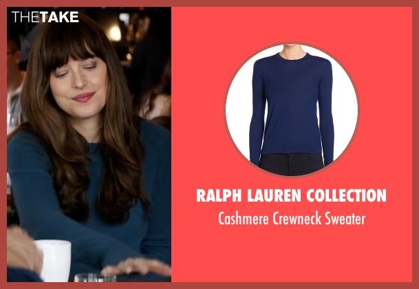 Ralph Lauren Collection blue sweater from Fifty Shades Darker seen with Dakota Johnson (Anastasia Steele)