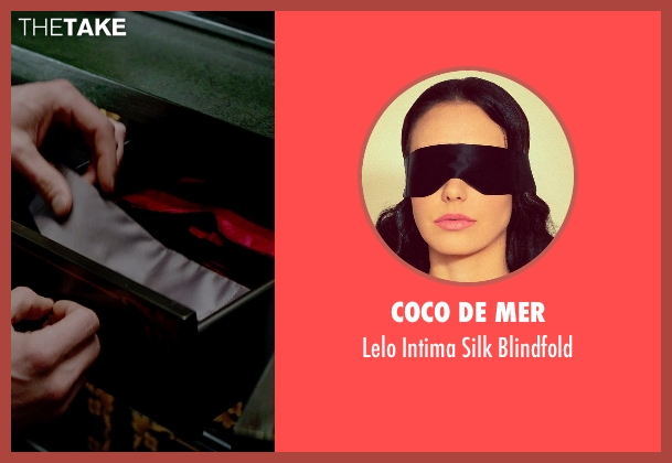 Coco de Mer blindfold from Fifty Shades of Grey seen with Dakota Johnson (Anastasia Steele)