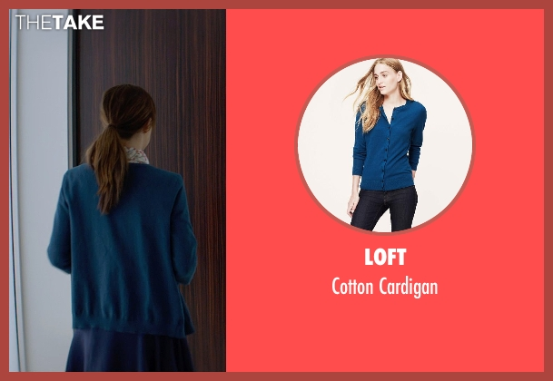 Loft blue cardigan from Fifty Shades of Grey seen with Dakota Johnson (Anastasia Steele)